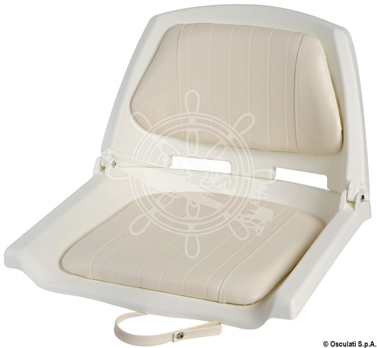 White polyethylene seat with foldable backrest