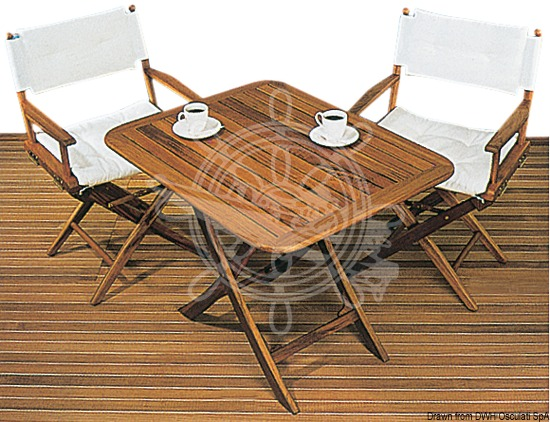 Foldable teak table