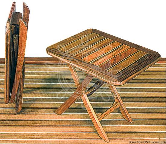 Foldable teak table, adjustable by height