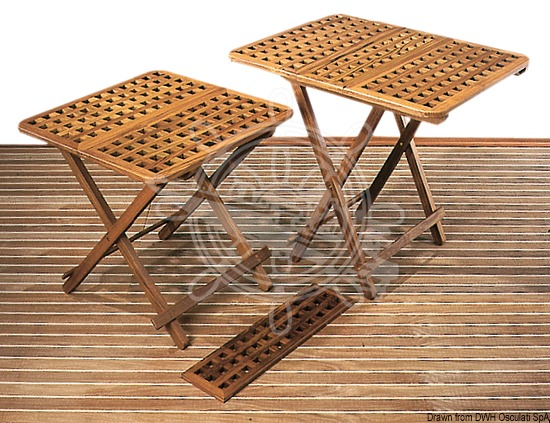 Foldable teak table and extension insert