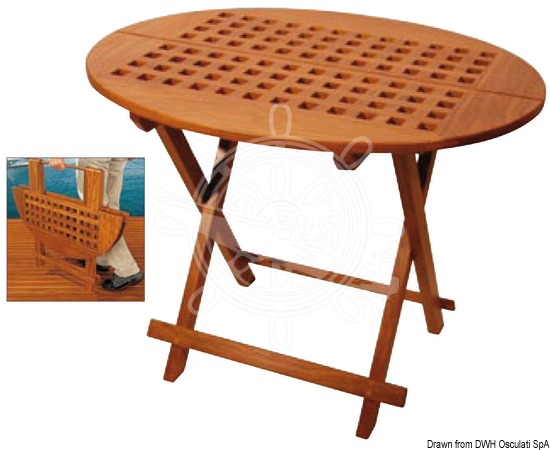Foldable oval table made of real teak wood